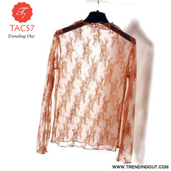 Summer Spring Womens See Through Mesh Basic Long Sleeve Blouse Mock Neck Embroidered Floral Lace Loose Pullover Tops