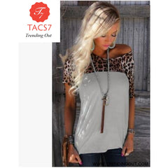 T Shirt Women Leopard Elastic Top 07 / S