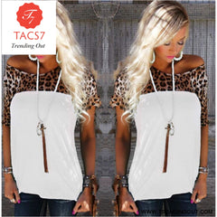 T Shirt Women Leopard Elastic Top 19 / S