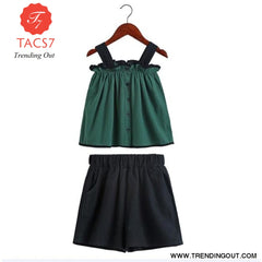 Teen Girls Chiffon Sets Girls Clothes White Cartoon Short Sleeve T-Shirt+Veil Dress 2Pcs Children Clothes 4 / Army Green