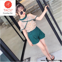 Teen Girls Chiffon Sets Girls Clothes White Cartoon Short Sleeve T-Shirt+Veil Dress 2Pcs Children Clothes 4 / Green