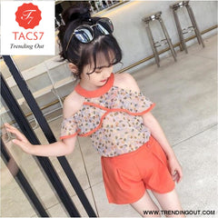 Teen Girls Chiffon Sets Girls Clothes White Cartoon Short Sleeve T-Shirt+Veil Dress 2Pcs Children Clothes 4 / Orange