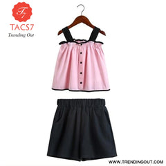 Teen Girls Chiffon Sets Girls Clothes White Cartoon Short Sleeve T-Shirt+Veil Dress 2Pcs Children Clothes 4 / Pink