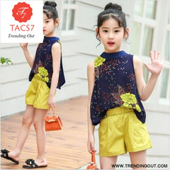 Teen Girls Chiffon Sets Girls Clothes White Cartoon Short Sleeve T-Shirt+Veil Dress 2Pcs Children Clothes 4 / Yellow