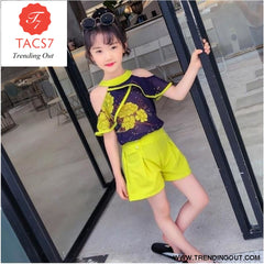Teen Girls Chiffon Sets Girls Clothes White Cartoon Short Sleeve T-Shirt+Veil Dress 2Pcs Children Clothes