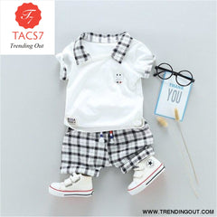 Two Childrens Clothing Boy Cotton Suit Gentleman Undertakes Small Childrens Clothing White / 2T