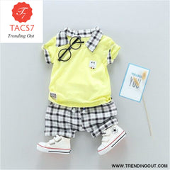 Two Childrens Clothing Boy Cotton Suit Gentleman Undertakes Small Childrens Clothing YELLOW / 2T
