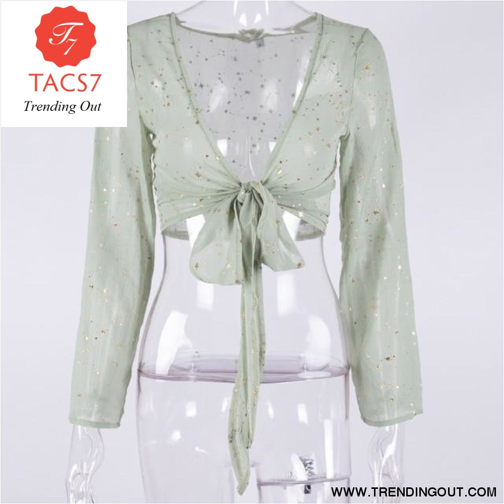 V Neck Lace Womens Tops and Blouses Green / S