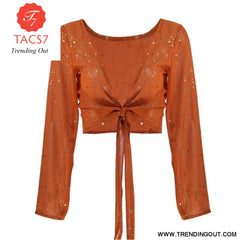 V Neck Lace Womens Tops and Blouses Orange / S
