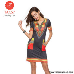 V Neck Patchwork African Print Mini Dresses Black Yellow / S