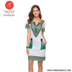V Neck Patchwork African Print Mini Dresses Gray / S