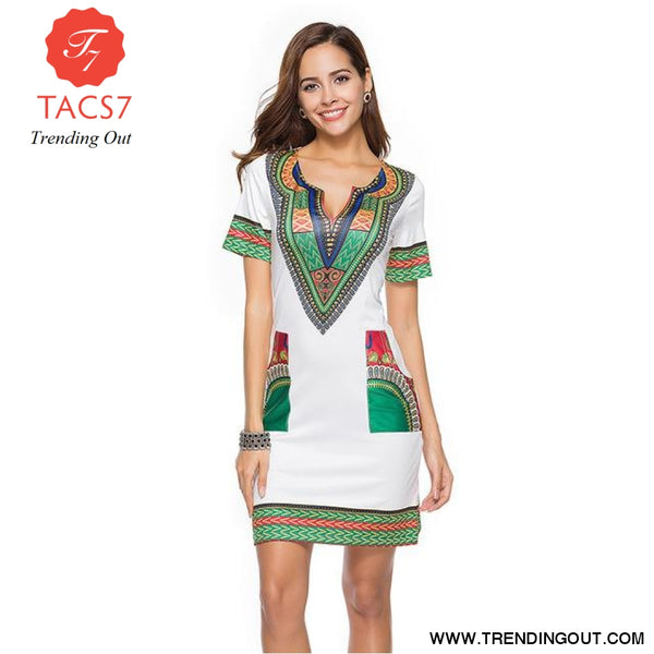 V Neck Patchwork African Print Mini Dresses White / S
