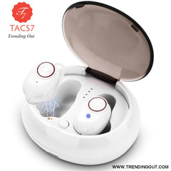 V5 TWS Bluetooth Headset True Wireless Earbus with QI-Enabled Wireless Charging Case IPX6 Waterproof Long Lasting 20 White