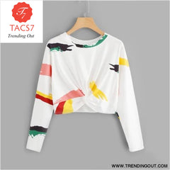 White Twist Front Printed Crop Tee Ladies Casual WHITE / S
