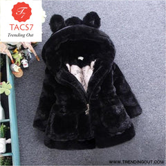 Winter Baby Girls Clothes Faux Fur Fleece Coat Pageant Warm Jacket Xmas Snowsuit 1-8Y Baby Hooded Jacket Outerwear black / 2T