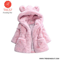 Winter Baby Girls Clothes Faux Fur Fleece Coat Pageant Warm Jacket Xmas Snowsuit 1-8Y Baby Hooded Jacket Outerwear