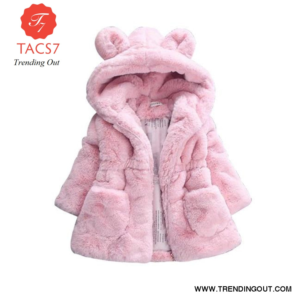 Winter Baby Girls Clothes Faux Fur Fleece Coat Pageant Warm Jacket Xmas Snowsuit 1-8Y Baby Hooded Jacket Outerwear pink / 2T
