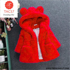 Winter Baby Girls Clothes Faux Fur Fleece Coat Pageant Warm Jacket Xmas Snowsuit 1-8Y Baby Hooded Jacket Outerwear red / 2T
