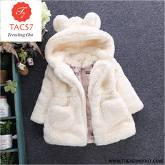 Winter Baby Girls Clothes Faux Fur Fleece Coat Pageant Warm Jacket Xmas Snowsuit 1-8Y Baby Hooded Jacket Outerwear white / 2T