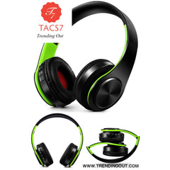 Wireless Bluetooth Headphones Foldable Stereo Headset Music Earphone black green