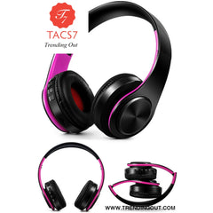Wireless Bluetooth Headphones Foldable Stereo Headset Music Earphone black pink
