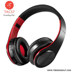 Wireless Bluetooth Headphones Foldable Stereo Headset Music Earphone black red