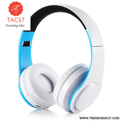 Wireless Bluetooth Headphones Foldable Stereo Headset Music Earphone white blue