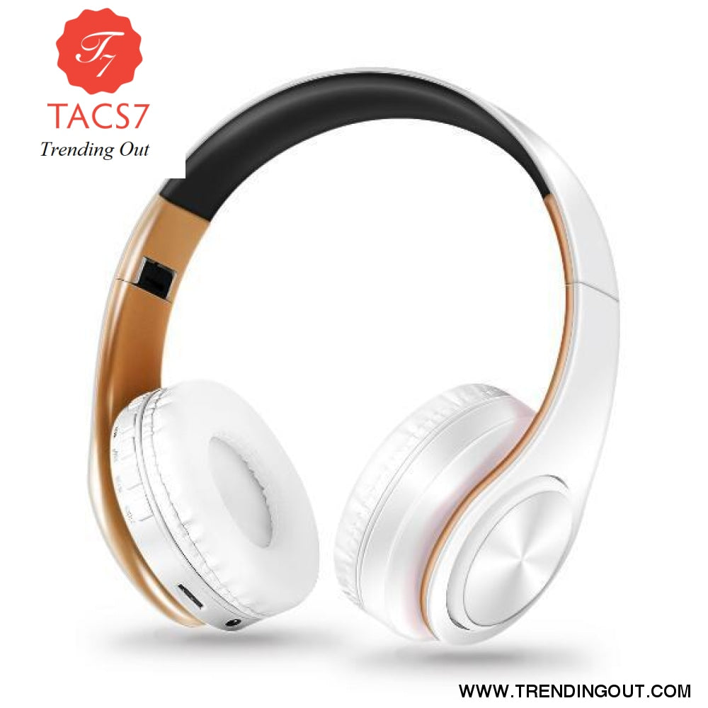 Wireless Bluetooth Headphones Foldable Stereo Headset Music Earphone White gold
