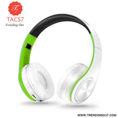 Wireless Bluetooth Headphones Foldable Stereo Headset Music Earphone white green