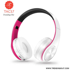 Wireless Bluetooth Headphones Foldable Stereo Headset Music Earphone white pink