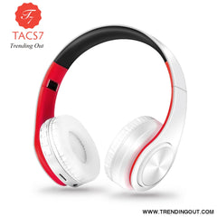 Wireless Bluetooth Headphones Foldable Stereo Headset Music Earphone white red