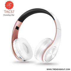 Wireless Bluetooth Headphones Foldable Stereo Headset Music Earphone white rose gold
