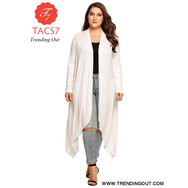 Women Cardigan Jacket Plus Size Autumn Open Front Solid Draped White / L