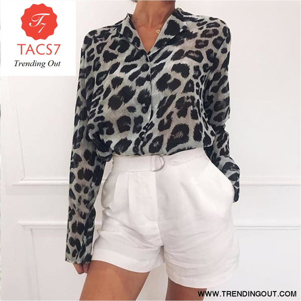 Women Casual Leopard Printed Chiffon Blouse Long Sleeve Turn Down Collar Office Lady Shirt 2019 Summer New Fashion Women Tops