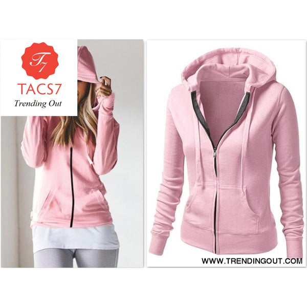 Womens Classic Hoodies Jackets Spring Autumn Zipper Hoody Sweatshirts Jacket Solid Slim Fit Hoodie