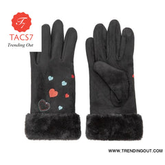 WomenS Gloves Winter Warm Color Suede Five Fingers Gloves Cute With Embroidered Heart Autumn Plus Velvet Thick Touch Screen black