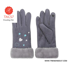 WomenS Gloves Winter Warm Color Suede Five Fingers Gloves Cute With Embroidered Heart Autumn Plus Velvet Thick Touch Screen grey