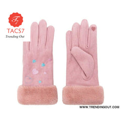 WomenS Gloves Winter Warm Color Suede Five Fingers Gloves Cute With Embroidered Heart Autumn Plus Velvet Thick Touch Screen pink
