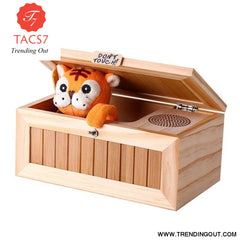 Wooden Electronic Useless Box Cute Tiger Funny Toy