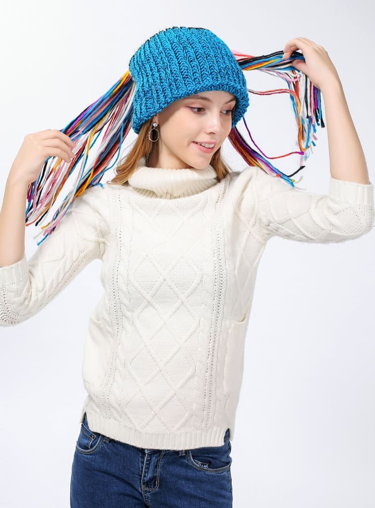 Chic Winter Warm Knit Bluetooth Beanie with Wireless Headphone Headset Speakers & Mic Rechargeable Battery Hands Free for Outdoor Sport for