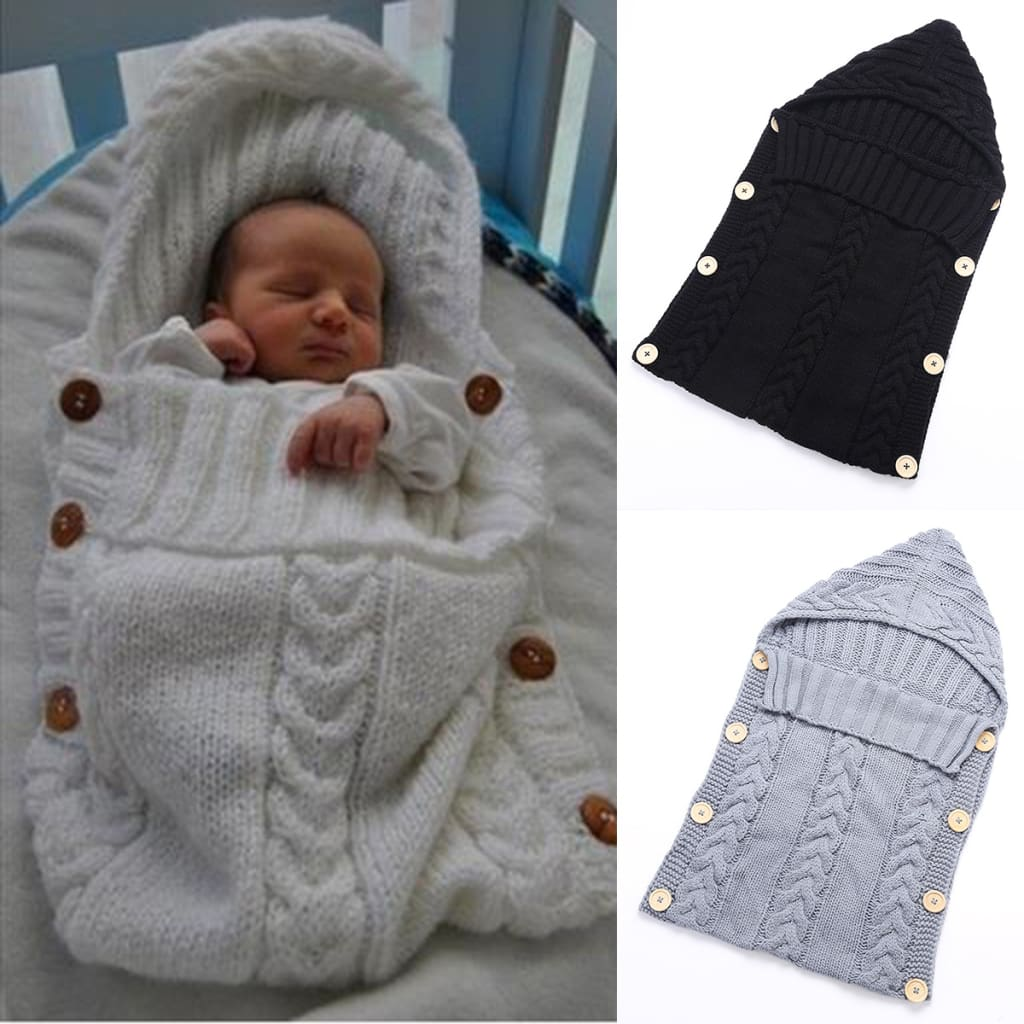 Baby Infant Swaddle Wrap Warm Wool Blends Crochet Knitted Hoodie Soft Swaddling Wrap Blanket Sleeping Bag