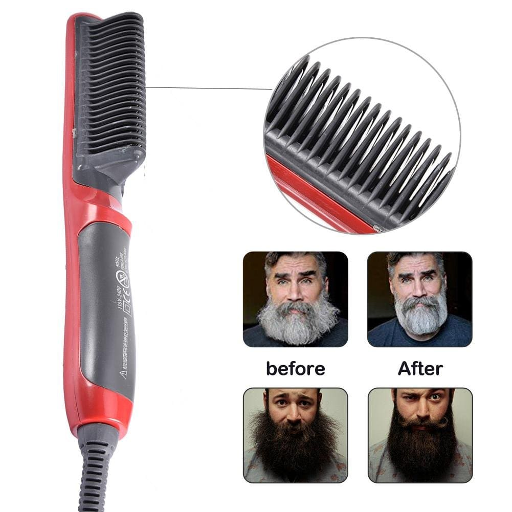 Mens All In One Ceramic Hair Styling Iron Comb & Beard Straightener Curler