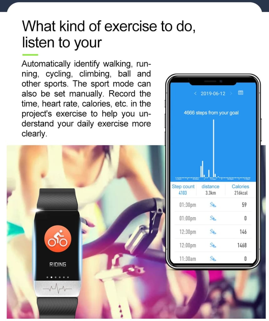 T1 Smart Watch Band With Temperature Immune Measure ECG Heart Rate Blood Pressure Monitor Weather Forecast Drinking Remind