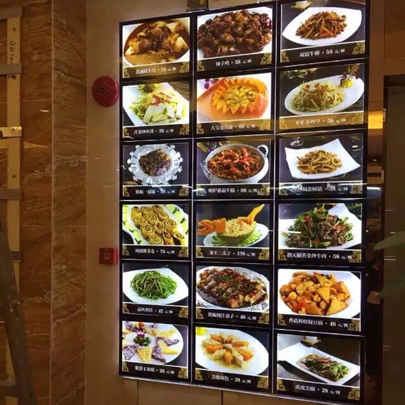Restaurant-Wall-Mounted-Acrylic-LED-Back-lit-Menu-Panel-Display-A4-Magnetic-Light-Boxes