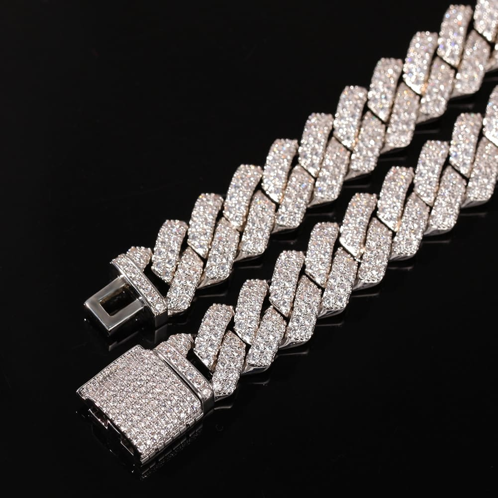 13mm Micro Pave Prong Cuban Chain Necklaces Fashion Hiphop Full Iced Out Cubic Zirconia Jewelry For Men Women