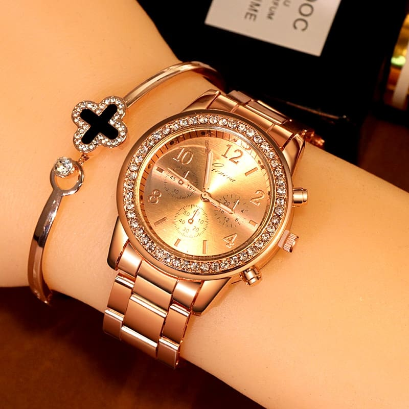 new geneva classic luxury rhinestone watch women watches fashion ladies women clock Reloj Mujer Relogio Feminino Ladies watch