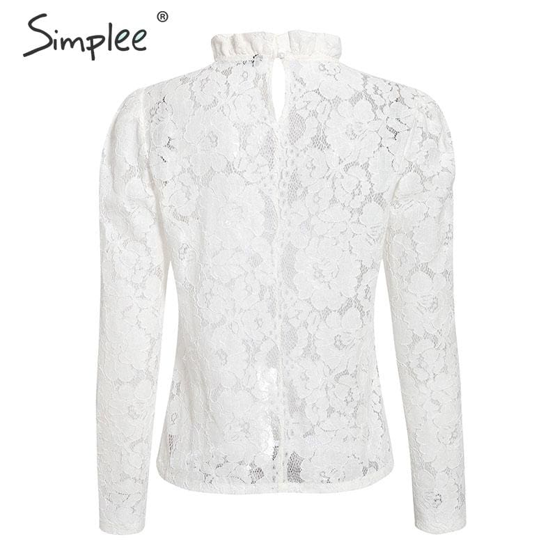 Simplee Elegant women white lace blouse Sexy see through female office shirts Chic puff sleeve crew neck ladies work wear tops