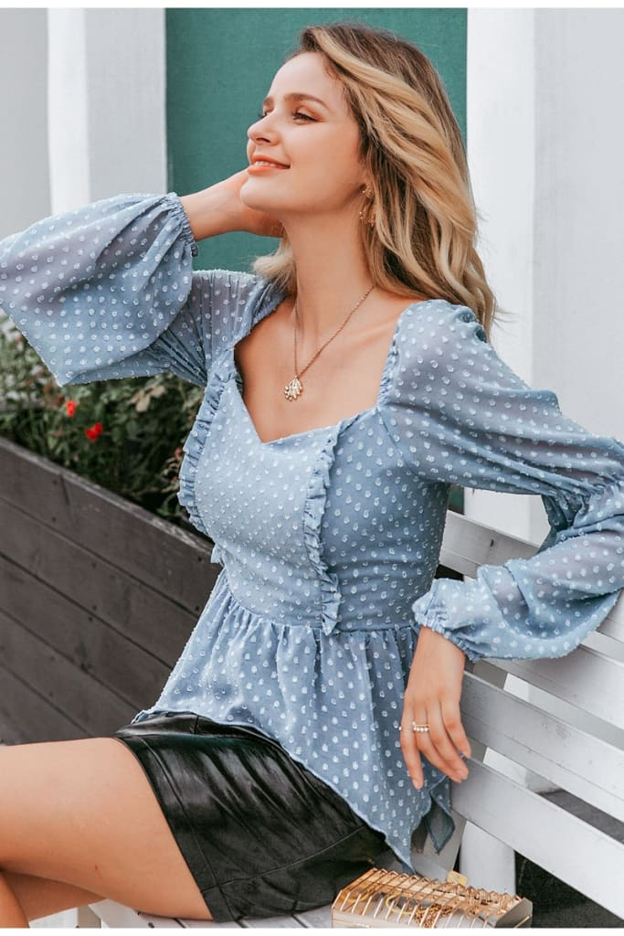 Sexy polka dot ruffle blouse women Casual square collar lantern sleeve chiffon blouse Female elegant solid slim blouse