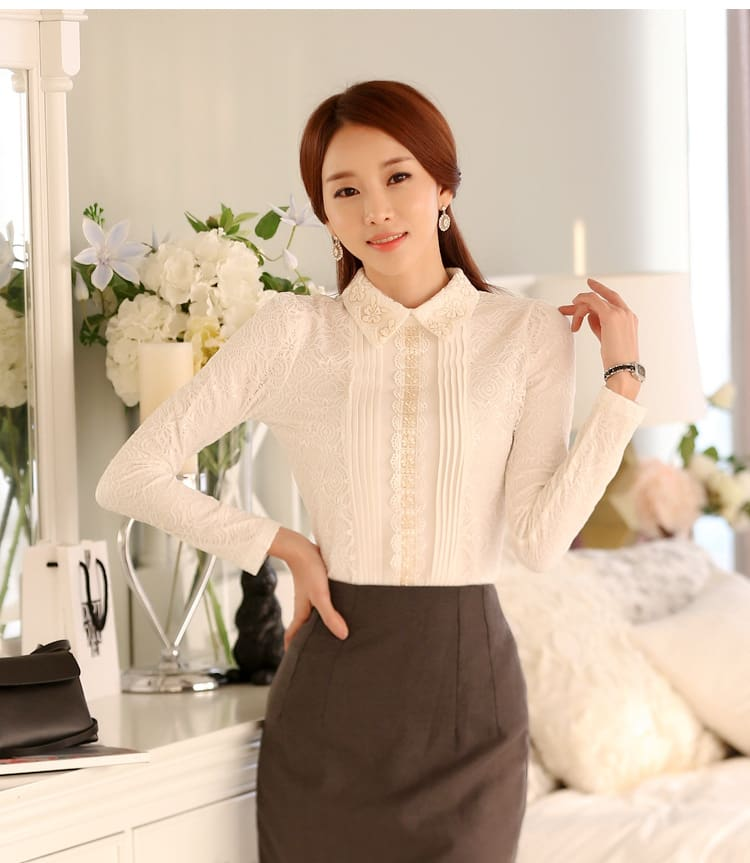 plus size women tops white lace blouse shirt womens tops and blouses long sleeve thick warm winter women shirts elegant blusas