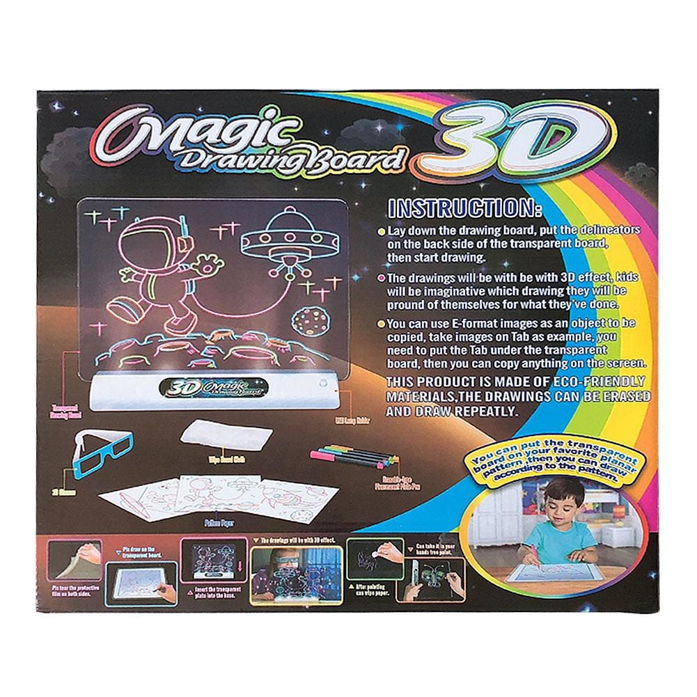 Magic Pad Deluxe Light Up LED 3D Drawing Tablet Writing Board Kids Toys Gifts 3D Illuminated Drawing Board Painting